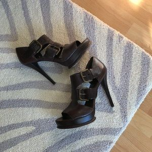 Stuart Weitzman Brown Buckle Sandals